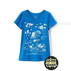 Lands' End - Blue girls' scalloped edge graphic tee