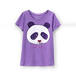 Lands' End - Purple girls' scalloped edge graphic tee