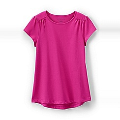 Lands' End - Bright purple girls' gathered shoulder t-shirt