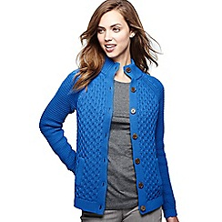 Lands' End - Blue women's textured drifter polo neck cardigan