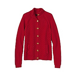 Lands' End - Red women's textured drifter polo neck cardigan