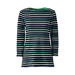 Lands' End - Blue petite boatneck rib top