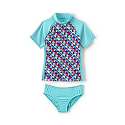 Lands' End - Girls Toddler Blue rash guard top and ruffle bottoms