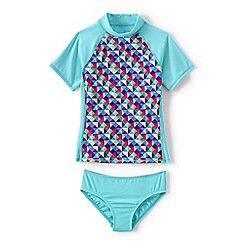 Lands' End - Blue girls' rash guard top and ruffle bottoms