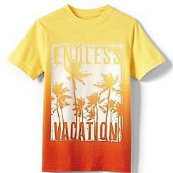 Lands' End - Yellow boys' short sleeve dip dye graphic tee