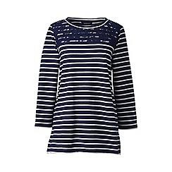 Lands' End - Blue regular lace yoke striped top