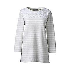 Lands' End - Grey regular lace yoke striped top
