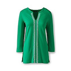Lands' End - Green cotton/modal petite embroidered tunic