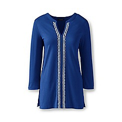 Lands' End - Blue cotton/modal embroidered tunic