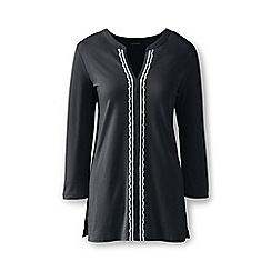 Lands' End - Black cotton/modal embroidered tunic