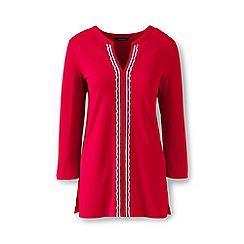 Lands' End - Red cotton/modal petite embroidered tunic