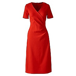 Lands' End - Orange regular ponte jersey tucked wrap dress
