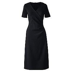 Lands' End - Black regular ponte jersey tucked wrap dress
