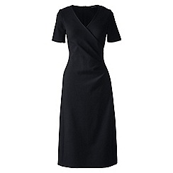 Lands' End - Black plus ponte jersey tucked wrap dress