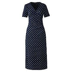Lands' End - Blue regular print ponte jersey tucked wrap dress