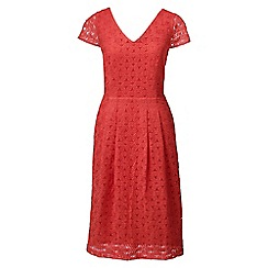 Lands' End - Orange regular embroidered cap sleeve dress