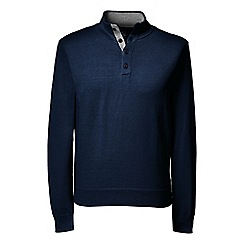 Lands' End - Blue men's fine gauge button/neck sweater