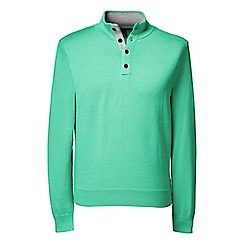 Lands' End - Green regular fine gauge button-neck sweater