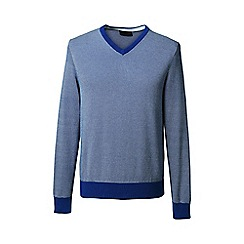 Lands' End - Blue patterned fine gauge v-neck sweater