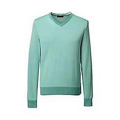 Lands' End - Green patterned fine gauge v-neck sweater