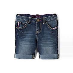Lands' End - Blue girls' 5 pocket denim midi shorts