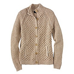 Lands' End - Beige textured marl drifter polo neck cardigan