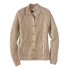 Lands' End - Beige women's textured marl drifter polo neck cardigan