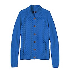 Lands' End - Blue petite textured drifter polo neck cardigan