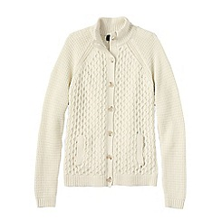 Lands' End - White petite textured drifter polo neck cardigan