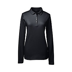 Lands' End - Black petite detailed collar pima polo