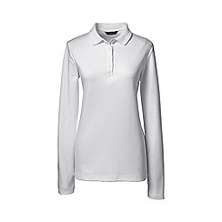 Lands' End - White petite detailed collar pima polo
