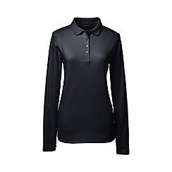 Lands' End - Black plus detailed collar pima polo