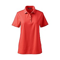 Lands' End - Orange detailed collar pima polo