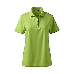 Lands' End - Green petite detailed collar pima polo