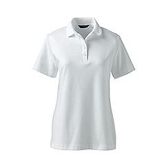 Lands' End - White tall detailed collar pima polo