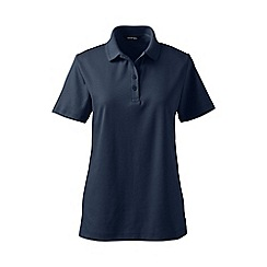 Lands' End - Navy plus detailed collar pima polo
