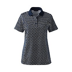 Lands' End - Black petite detailed collar pima polo