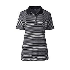 Lands' End - Black regular striped detailed collar polo