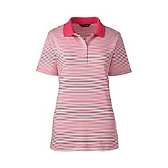 Lands' End - Pink petite striped detailed collar polo