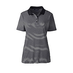 Lands' End - Black petite striped detailed collar polo