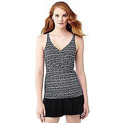 Lands' End - Grey shape and enhance wrap front medallion print tankini top