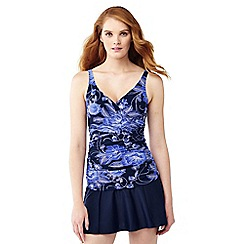 Lands' End - Blue shape and enhance wrap front floral print tankini top