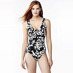 Lands' End - Black leaf print slender v-neck swimsuit