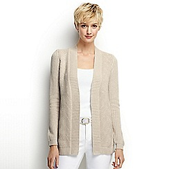 Lands' End - Beige regular drifter mixed stitch cardigan