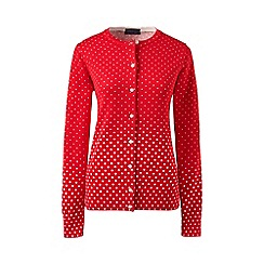 Lands' End - Red regular fine gauge supima print cardigan
