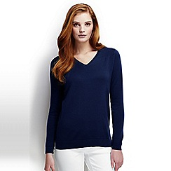 Lands' End - Blue regular fine gauge supima shirred v-neck