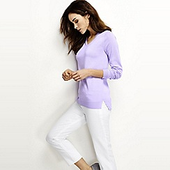 Lands' End - Purple regular fine gauge supima shirred v-neck