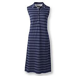 Lands' End - Blue regular patterned sleeveless pique polo dress