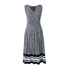 Lands' End - Blue plus engineered print jersey crossover dress