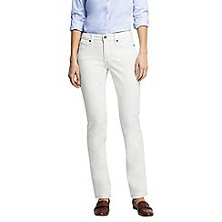 Lands' End - White petite mid rise straight leg stain repellent white jeans